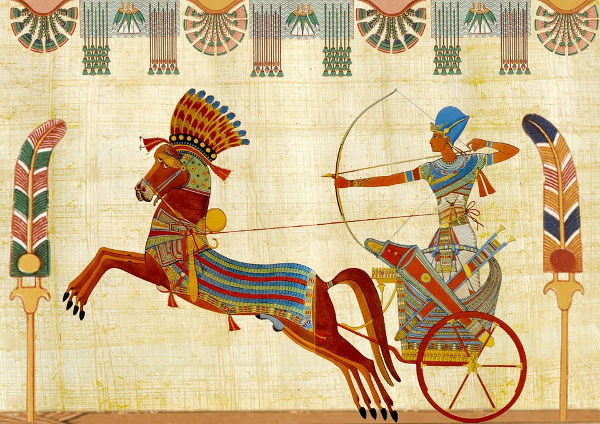 Depiction of Tutankhamun in an Ancient Egyptian Chariot.