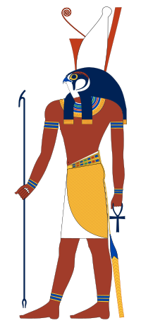 Horus depicted as the ancient Egyptian falcon headed-deity.