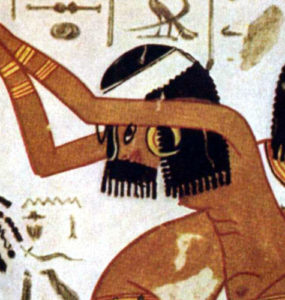 Dancers and Flutists, with an Egyptian hieroglyphic story.