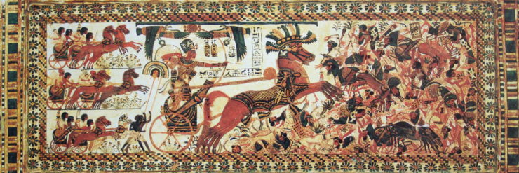 The Pharaon Tutankhamun destroying his enemies.