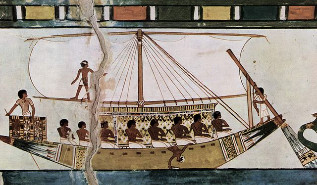 Depiction of a Stern-mounted steering oar of an Egyptian riverboat.