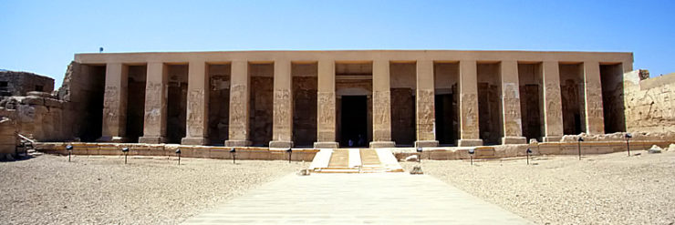 Façade of the Temple of Seti I in Abydos.