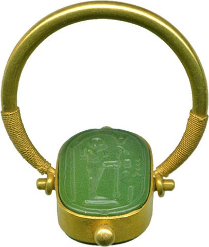 Emerald ring depicting the god Ptah, from the Late Period of ancient Egypt.