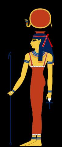 Hathor, depicted in human form.