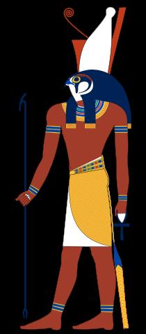 Horus, depicted as falcon headed-deity.
