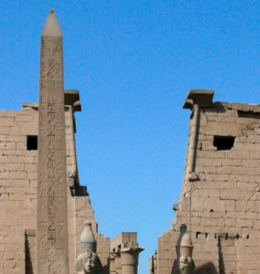 Pylons and obelisk at Luxor temple.