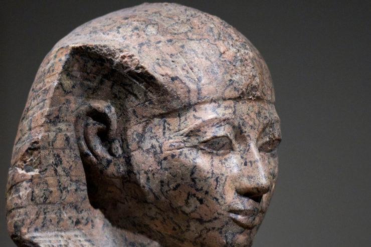 A stone statue of Hatshepsut.