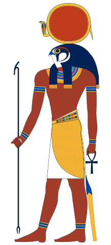 Depiction of Ra-Horakhty, a combined deity of Horus and Ra.