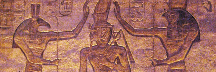 Seth and Horus adoring Ramesses.