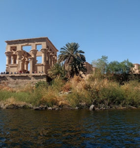 River Nile, Nuba, Aswan, Egypt, with Fila Temple.