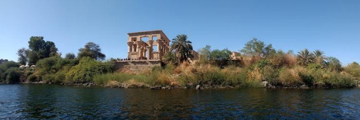 River Nile, Nuba, Aswan, Egypt, with Fila Temple.