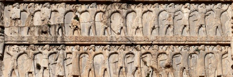 The soldiers of Xerxes I, of all ethnicities, on the tomb of Xerxes I.