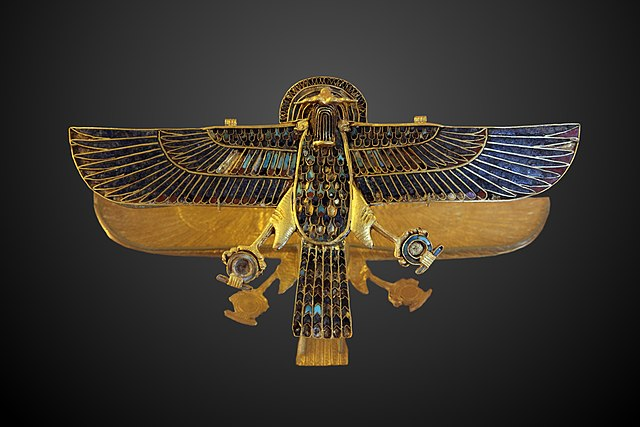 Horus With Outstretched Wings with a Shen ring in each talon.
