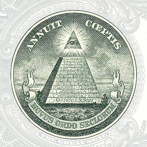 The Eye of Providence shown on the Great Seal of the United States, shown here on the reverse side of the US $1 bill.