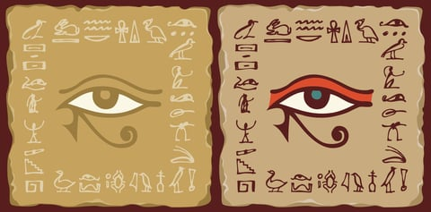 Depiction of ceramic tiles with Eye of Horus and hieroglyphs.