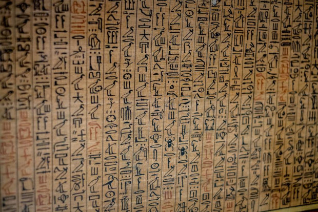 Hieroglyphics on Papyrus.