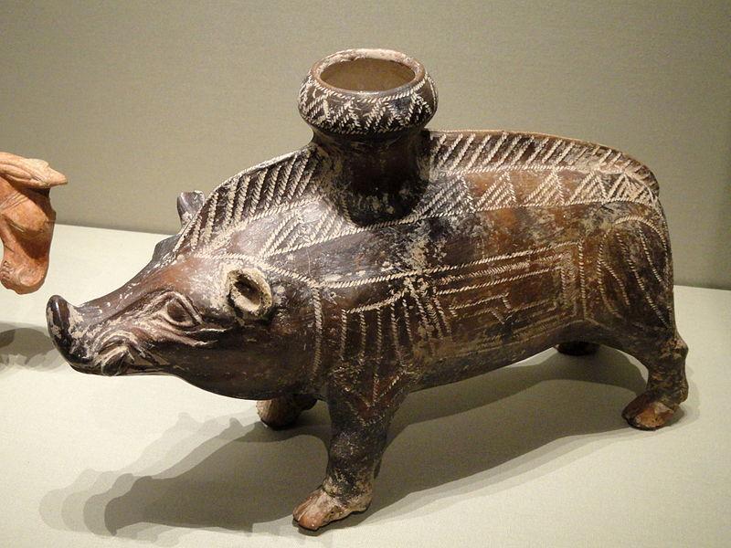 Etruscan art / Ancient ceramic boar Vessel / 600-500 BC.