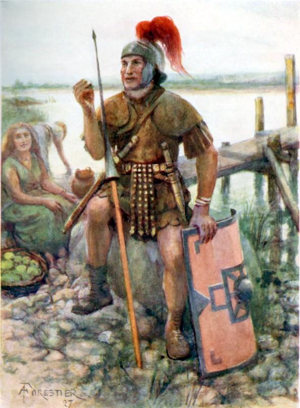 Roman Soldier with pilum / Symbol of Virtus.