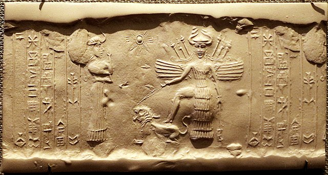 Depiction of goddess Inanna / Ishtar and her sukkal Ninshubur.