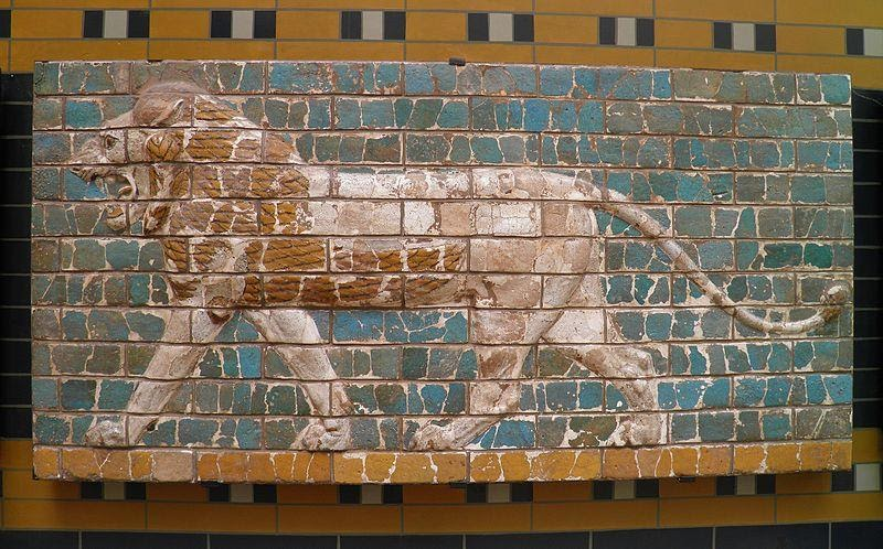 Ancient relief of a lion.