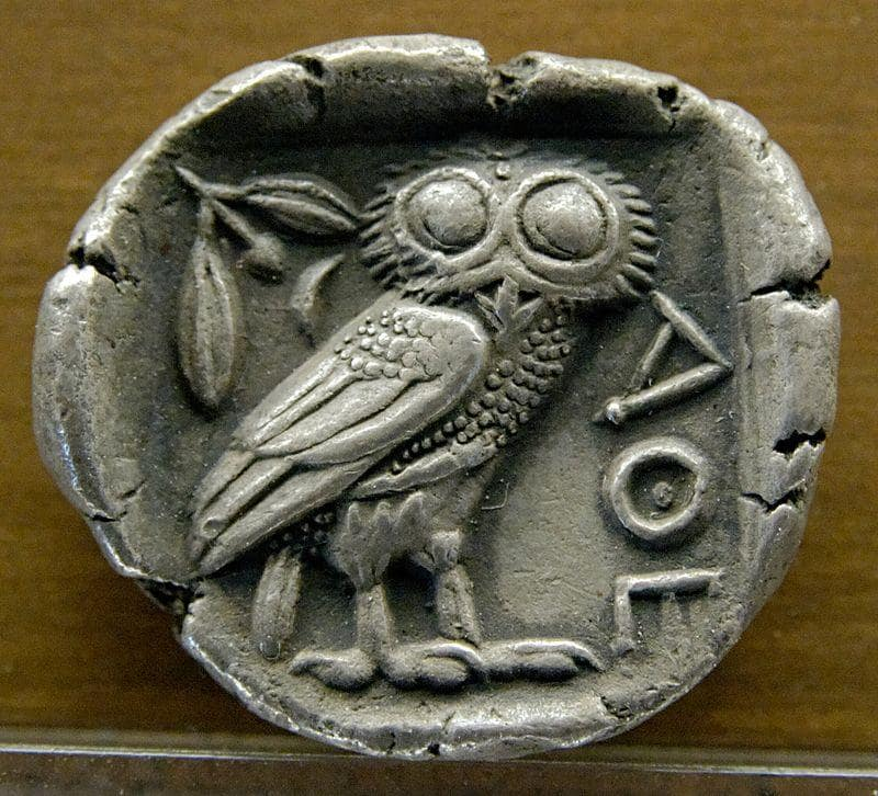 A silver coin depicting the owl of Athena was first issued in 479 BC in Athens.