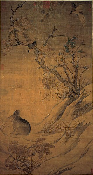 Magpie in China / An 11th century drawing of a hare and two magpies.
