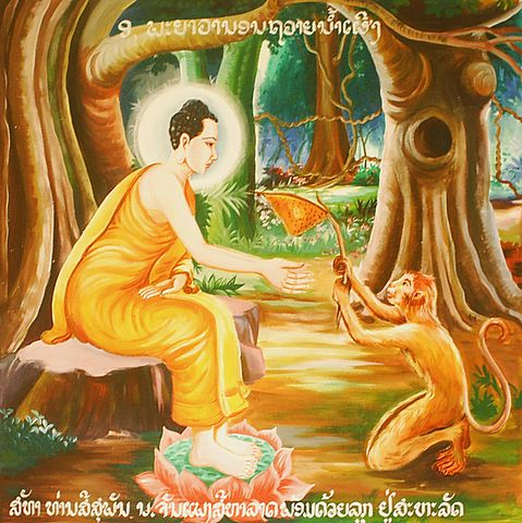 A monkey offering honey to help feed the Buddha.