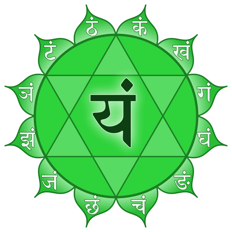 Anahata chakra with peaked circle around a six-pointed star.
