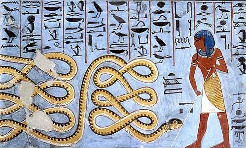 Apophis being warded off by the deity Atum.