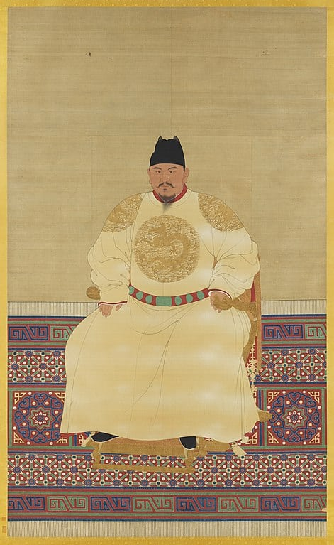 Portrait of the Hongwu Emperor in a silk yellow dragon robe featuring embroidered the Yellow Dragon.