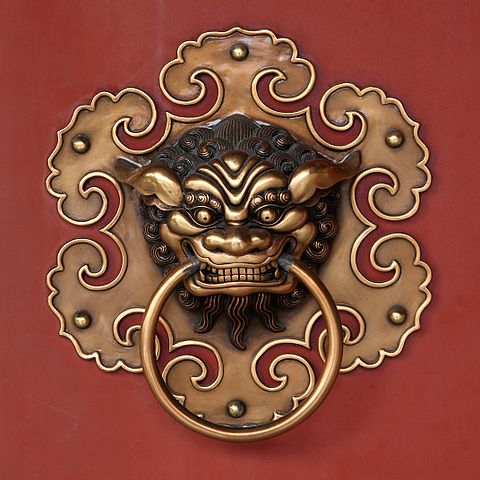 Doorknob of the Siong Lim Temple in Singapore, shaped as a Chinese jiaotu dragon.