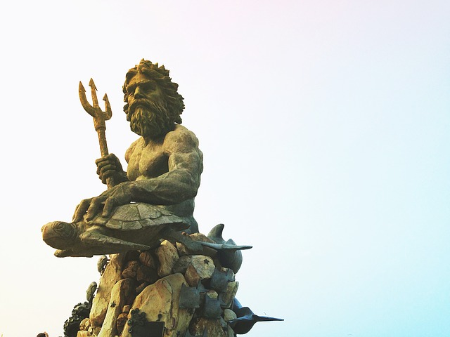 A symbol of Poseidon / Neptune with his trident.