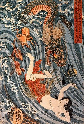 A painting of Princess Tamatori stealing Ryūjin's jewel.