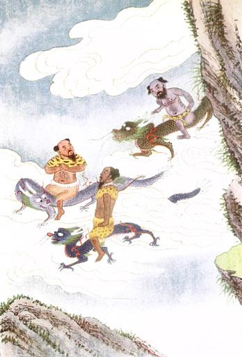 Daoist Xian riding horned dragons.