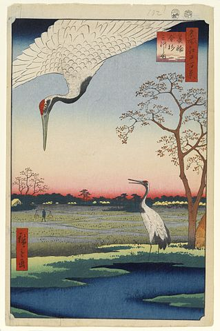 Red-crowned cranes featured in the series One Hundred Famous Views of Edo.