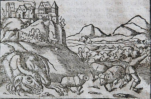 A drawing of Smok Wawelski, or the Wawel Dragon of Krakow.