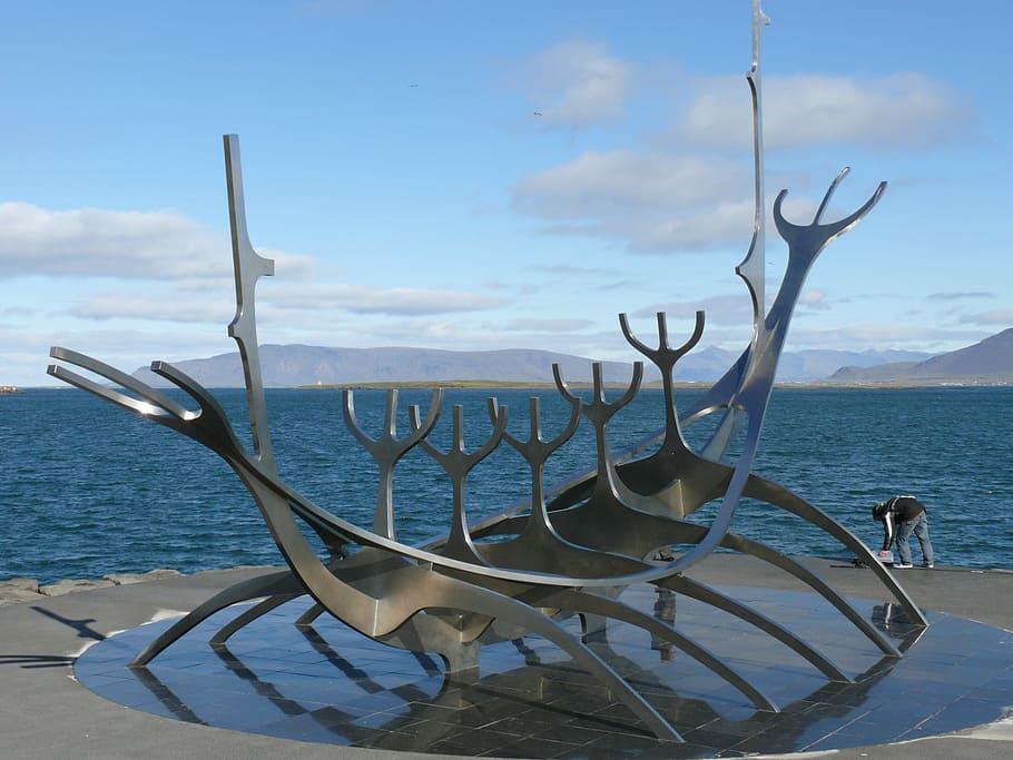 Viking ship sculpture.