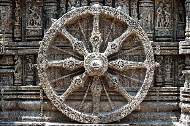 Wheel at Sun temple / Buddhist symbol of happiness.