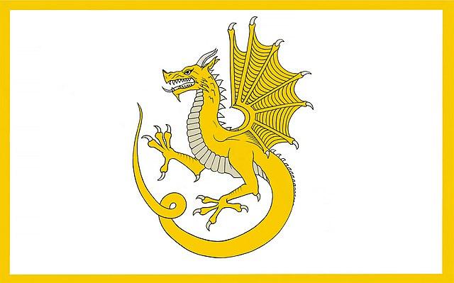 A flag depicting a wyvern carried by Owain Glyndwr.