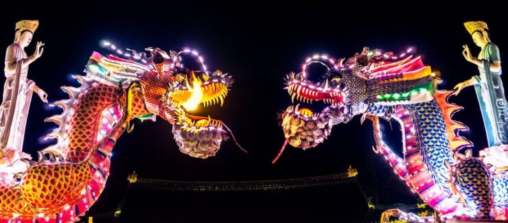 Chinese dragons during the Festival of Lights