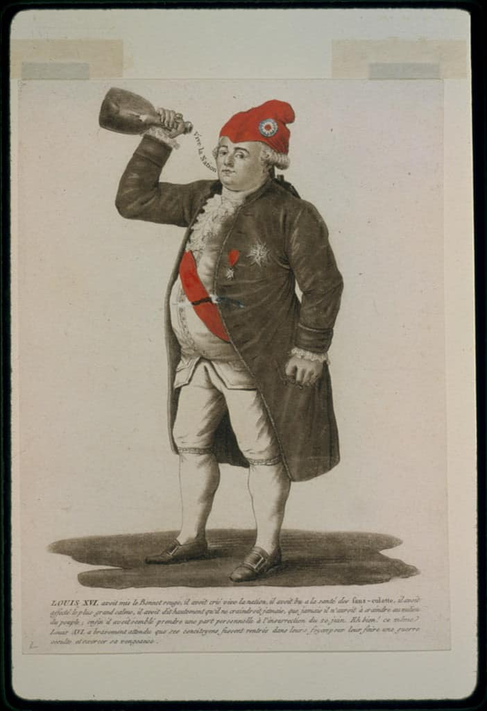 Louis XVI the last king of France wearing a Bonnet rouge (traditional revolutionary phrygian cap) / French red cap.