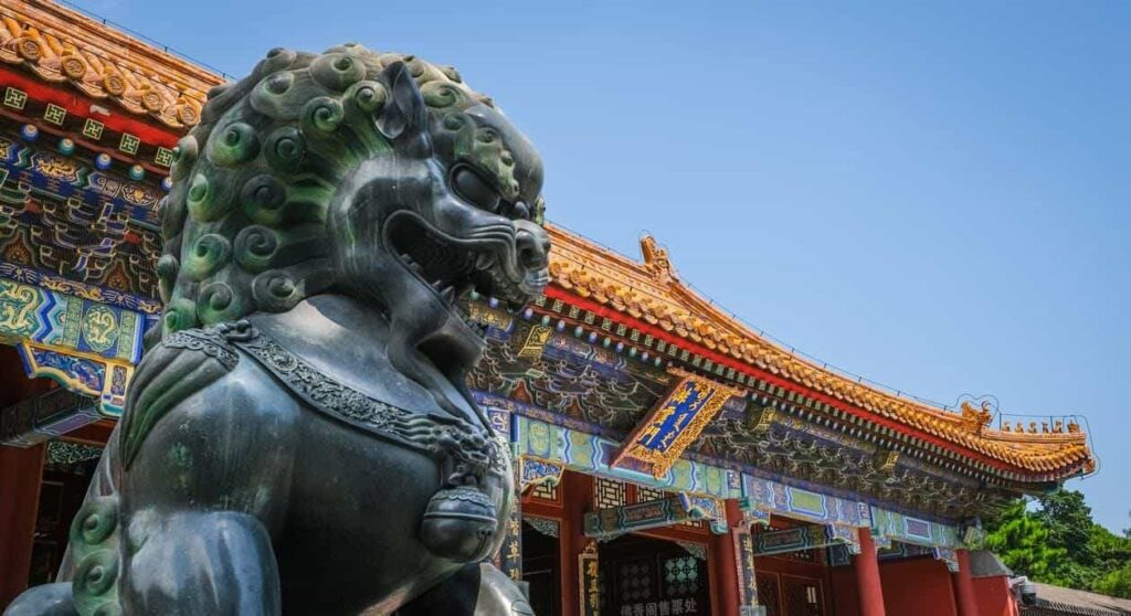 A statue of a Fu Lion outside a temple in China.
