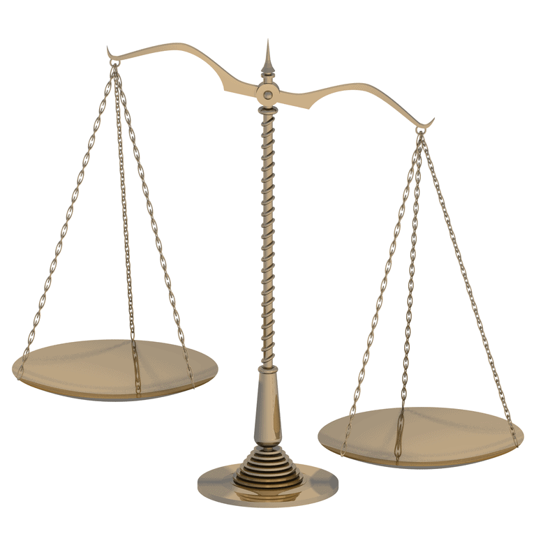 Symbol of justice and fairness / Beam balance.