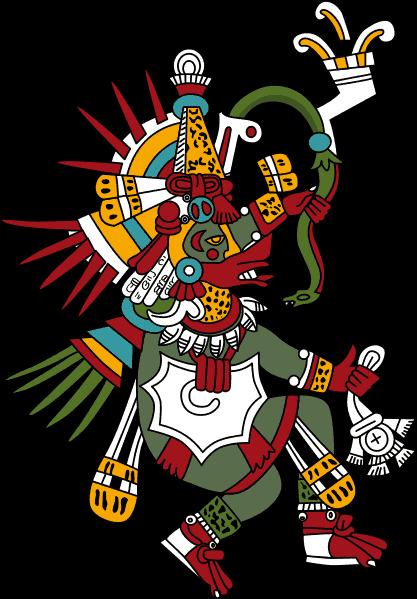 Quetzalcoatl , God of Wind and Wisdom wears a ehecailacocozcatl around his neck / Wind jewel symbol.
