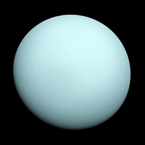 Image of Uranus, taken by the spacecraft Voyager 2 in 1986.