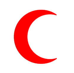 Red Crescent / A red half-moon.