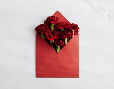 An envelope with roses.