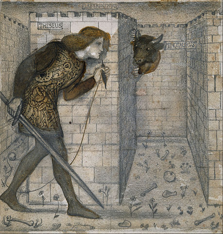Theseus in the Minotaur's labyrinth.