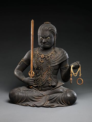 Statue of Fudo Myoo from early 13th century Japan.